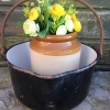 true-vintage-rustic-gypsy-steel-enamel-cooking-pot-handle-garden-planter-272194676342